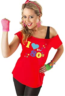 Women/'s Ladies I Love The 80s T Shirt Short Sleeves Pop Star Top Plus Size 8-22