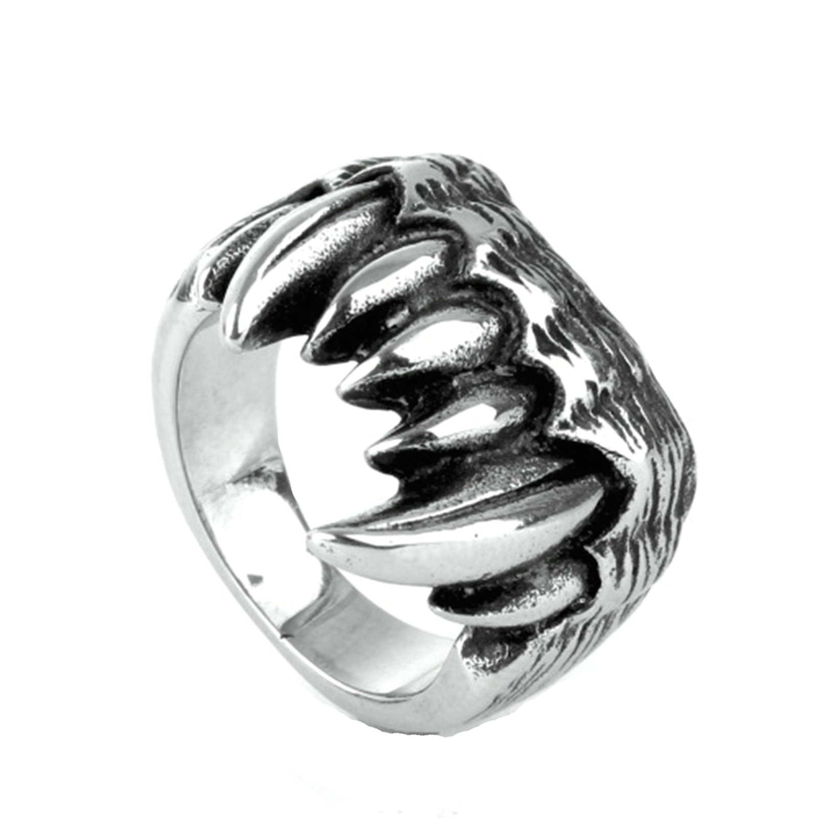 MoAndy Men Stainless Steel Vintage Retro Silver Dragon Claw Ring 6MM Size 7