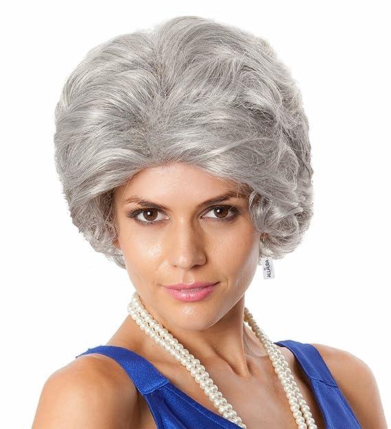 Amazon.com  Old Lady Mrs Doubtfire Wig + Wig Cap. Grandma Costume Queen  Elizabeth Gray Wigs Fits Adults Women Girls  Clothing c22733ebe6