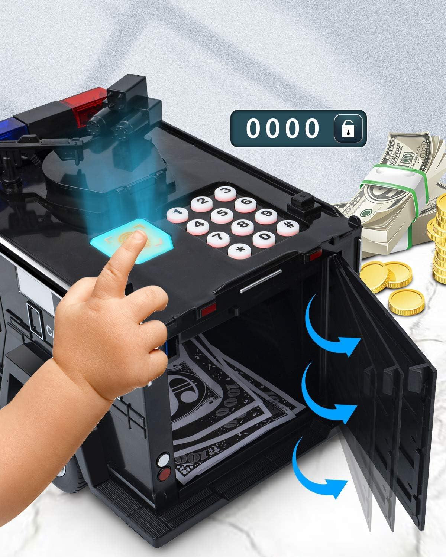 FHJZXDGHNXFGH Coche el/éctrico Juguete Hucha Ni/ños Ni/ños Dinero Caja Segura Monedas Tarro Blanco