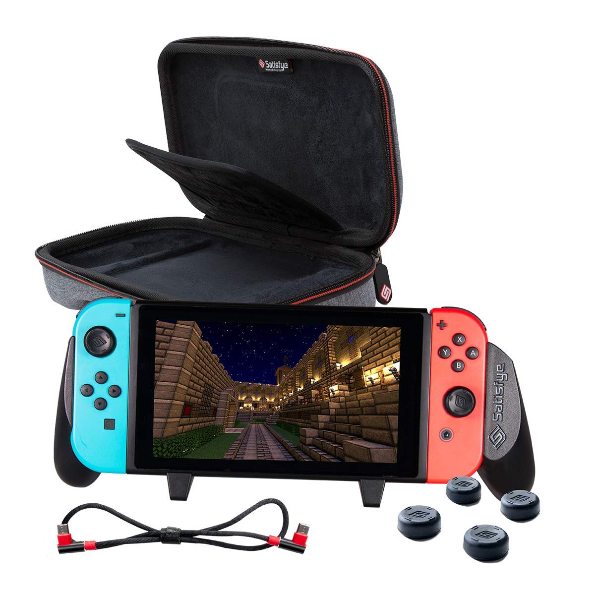 Satisfye - Accessories Bundle Compatible with Nintendo Switch - Slim Bundle, The Slim Grip Case includes: Switch Grip, Slim Case and a Low Profile USB C Charging Cable. BONUS: 4 Thumbsticks