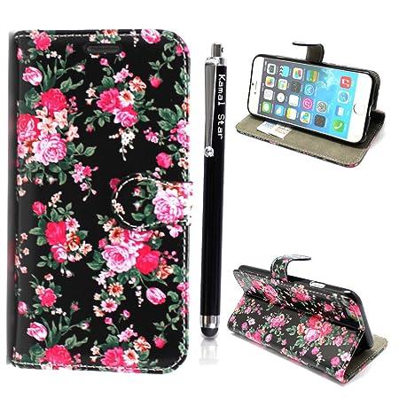 Kamal Star® Klappschutzhülle fürs Handy, aus Kunstleder, mit Standfunktion, für verschiedenen Apple-Handys, mit Magnetschließe, inkl. Eingabestift, Kunstleder, Roses on Black Book, iPhone 6 plus (5.5'') / iPhone 6 plus S (5.5'')