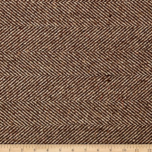 Ametex LLC Wool Blend Herringbone Coating Brown/Beige Fabric by The Yard