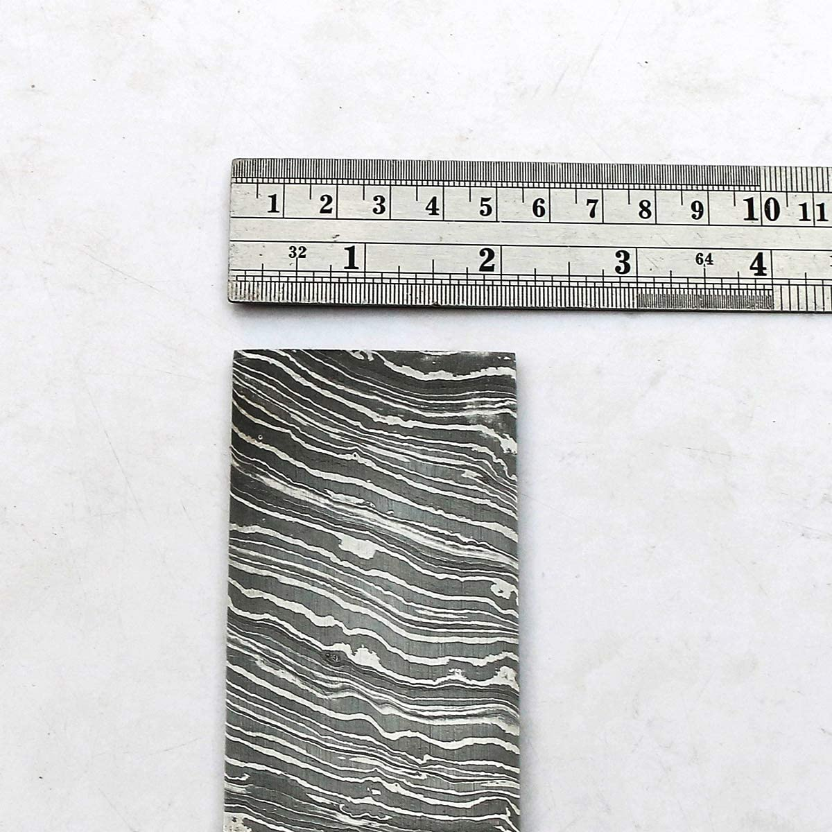 """SAAA 9000 12\"""" x 2\"""" x 5 MM Thickness FIRE STROM Pattern Custom Handmade Damascus Steel Billet Bar Blank Blade for Knife Making 