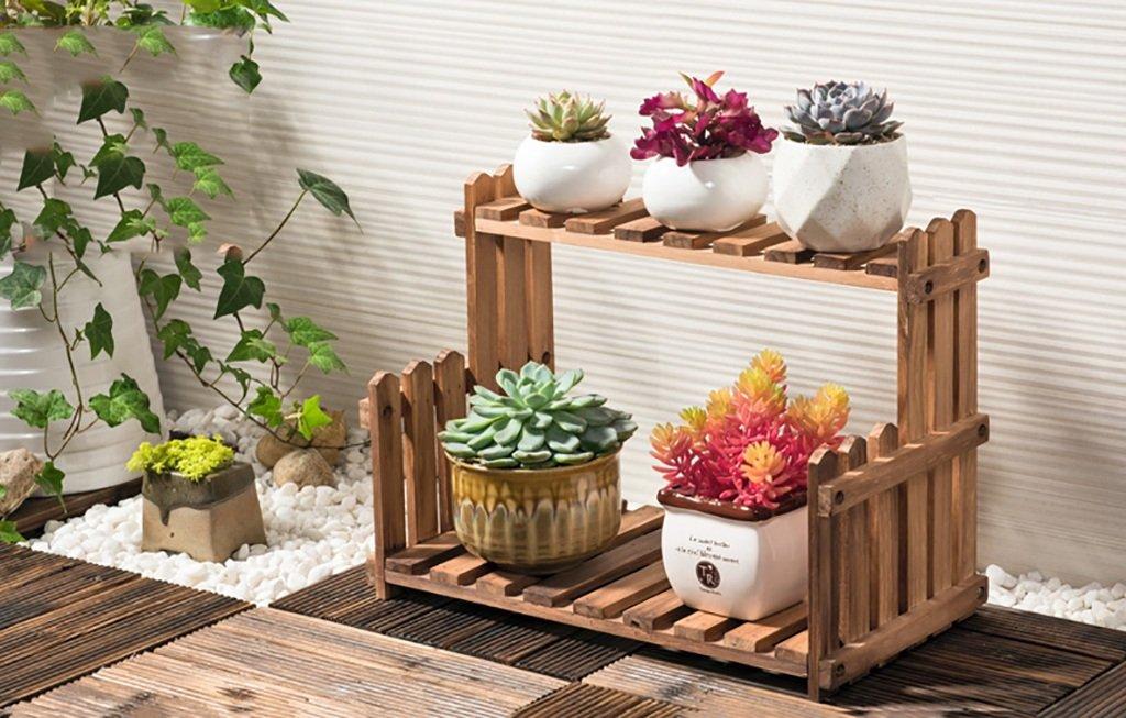 HJ flower rack Yxsd Supporto per Fiori in Legno, 2 Piani da Esterno per balconi Bonsai da Terra - Legno Naturale (Dimensioni   40×21×22cm)