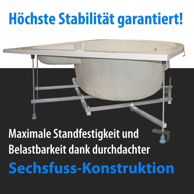 Kissen Kassel AQUADE Badewanne 150 x 150 extra stabile Eckbadewanne mit Untergestell 150x150 cm Modell LED