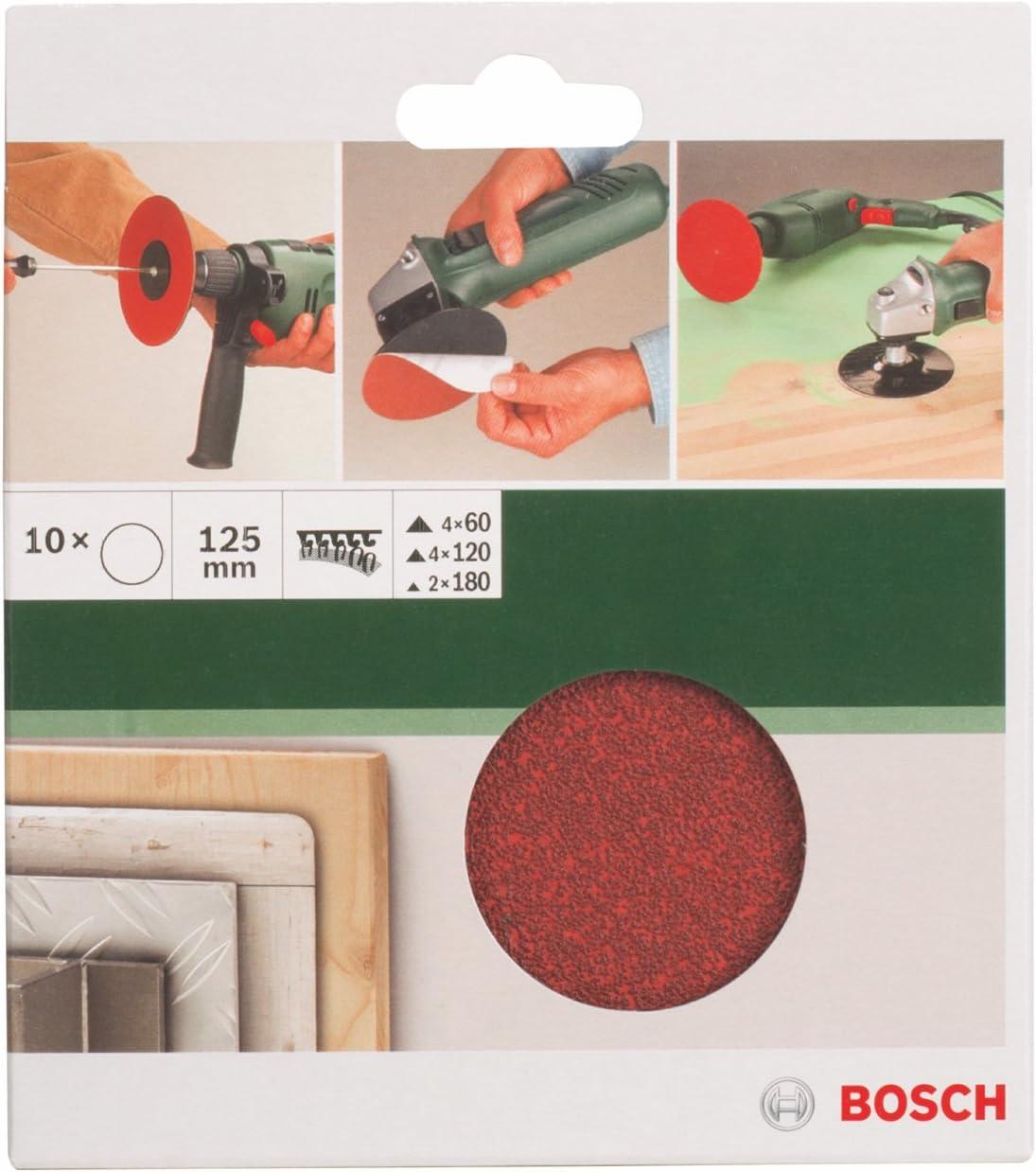 Bosch DIY 10tlg /Ø 125 mm, K/örnung 60//120//180 Papierschleifblatt-Set f/ür Winkelschleifer verschiedene Materialien