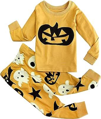 FANCYINN Niños La Pijama de Manga Larga de algodón para niños Establece la Calabaza Impresa 2 Piezas PJS Ropa de Dormir Ropa de Dormir 1-7 años