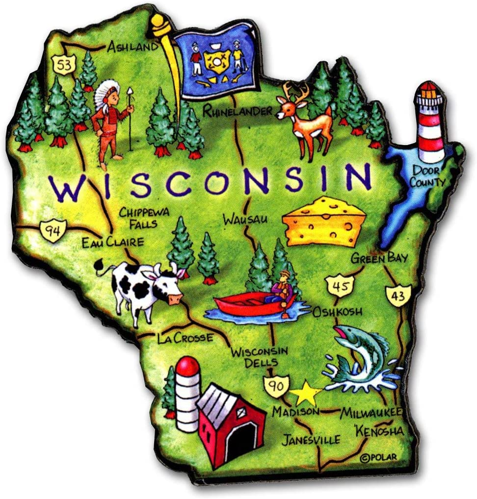 Wisconsin State Decowood Jumbo Wood Fridge Magnet 3.25