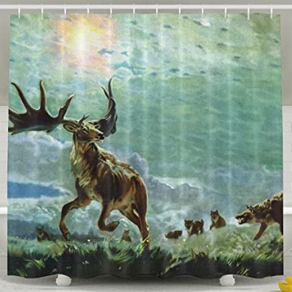 Amazon Paintings Wildlife Wolves Hunting Elk Shower Curtain