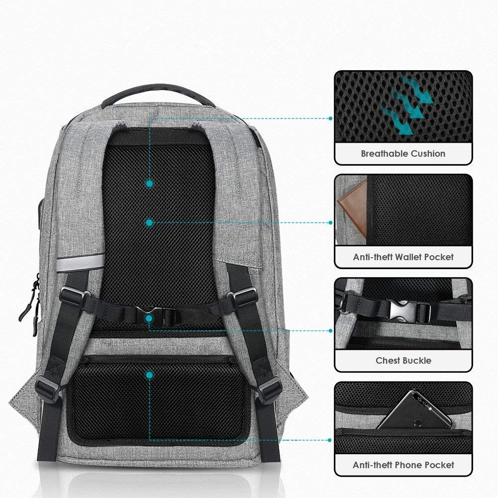 Laptop Backpack, REYLEO Backpack, Work Backpack for Man&Woman,Fits 15.6 Inch Laptop, with Shoe Compartment, External USB Charging Port, Water Resistant,Gray, Back to School Choice, RB06 by REYLEO (Image #10)