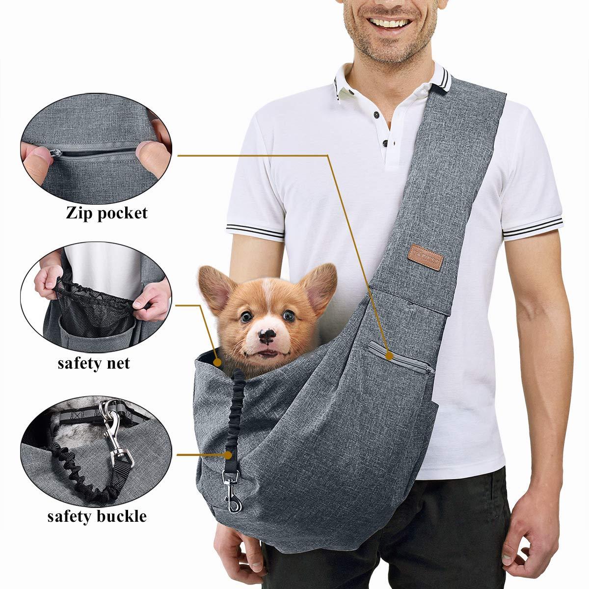 TOMKAS Medium Padded Shoulder Strap Dog Cat Carrier Sling (Grey for 8-15 lbs) by TOMKAS