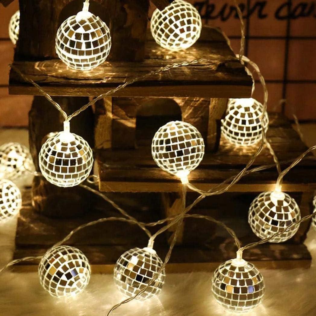 20PC Lichterkette,FeiliandaJJ 1.5//2.2//3M 10//20//20pc Spiegelkugel Licht LED Lichterkette Innen//Au/ßen Deko Hochzeit Party Halloween Weihnachten Haus Deko String Lights 2xAA Batterie B, 2.2M