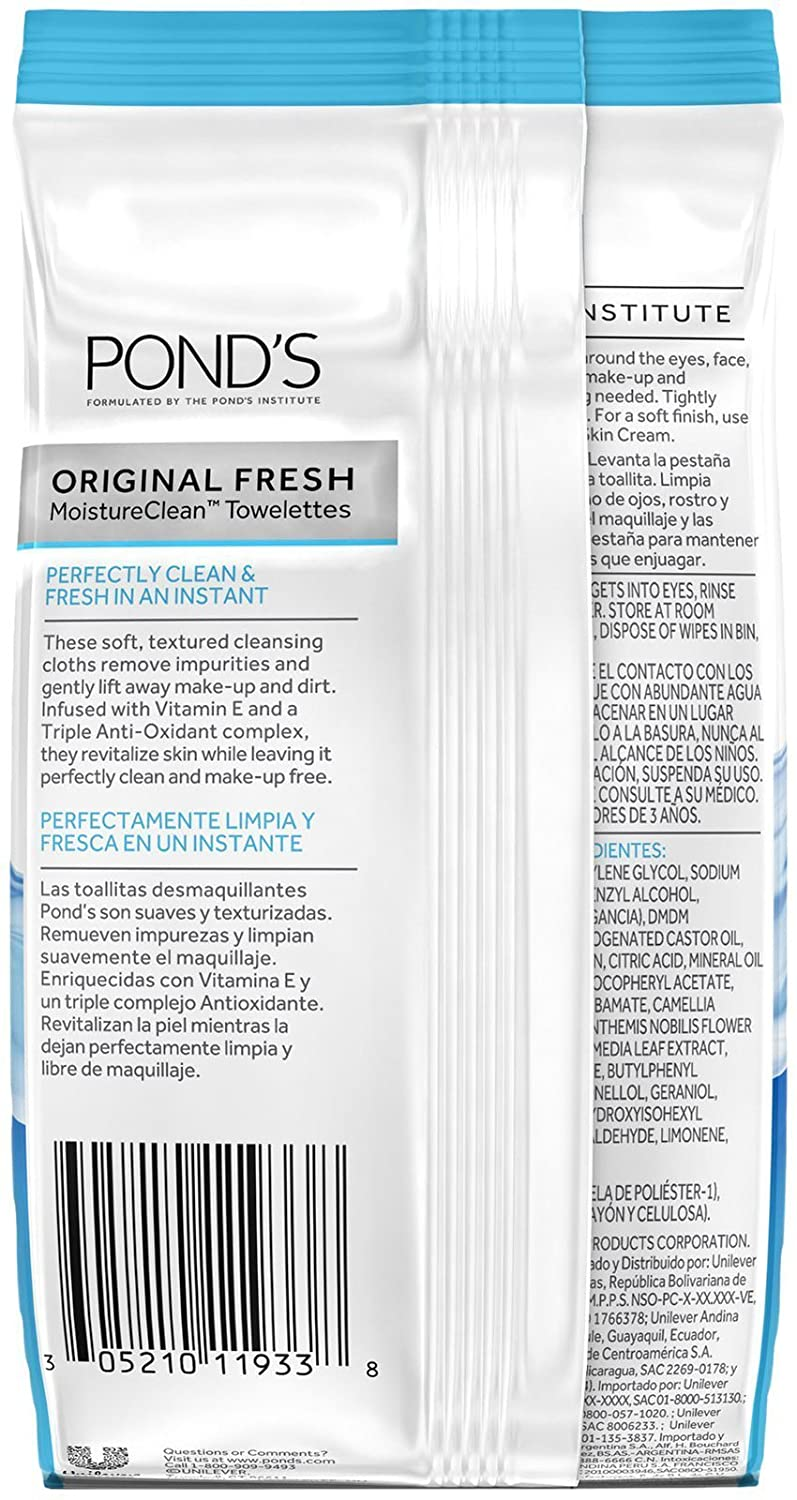 Amazon.com: Ponds Original Fresh Wet Cleansing Towelettes, With Vitamin E, 30 Towelettes (Pack of 6): Beauty