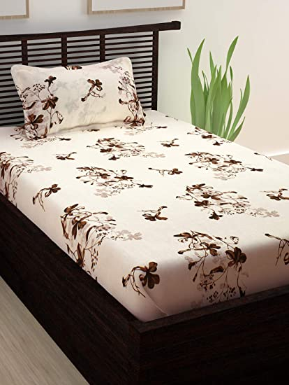 Story@Home Spark Gold Premium Collection 208 TC Floral Pattern 1 Single Bedsheet and 1 Pillow Cover - Cream & Brown