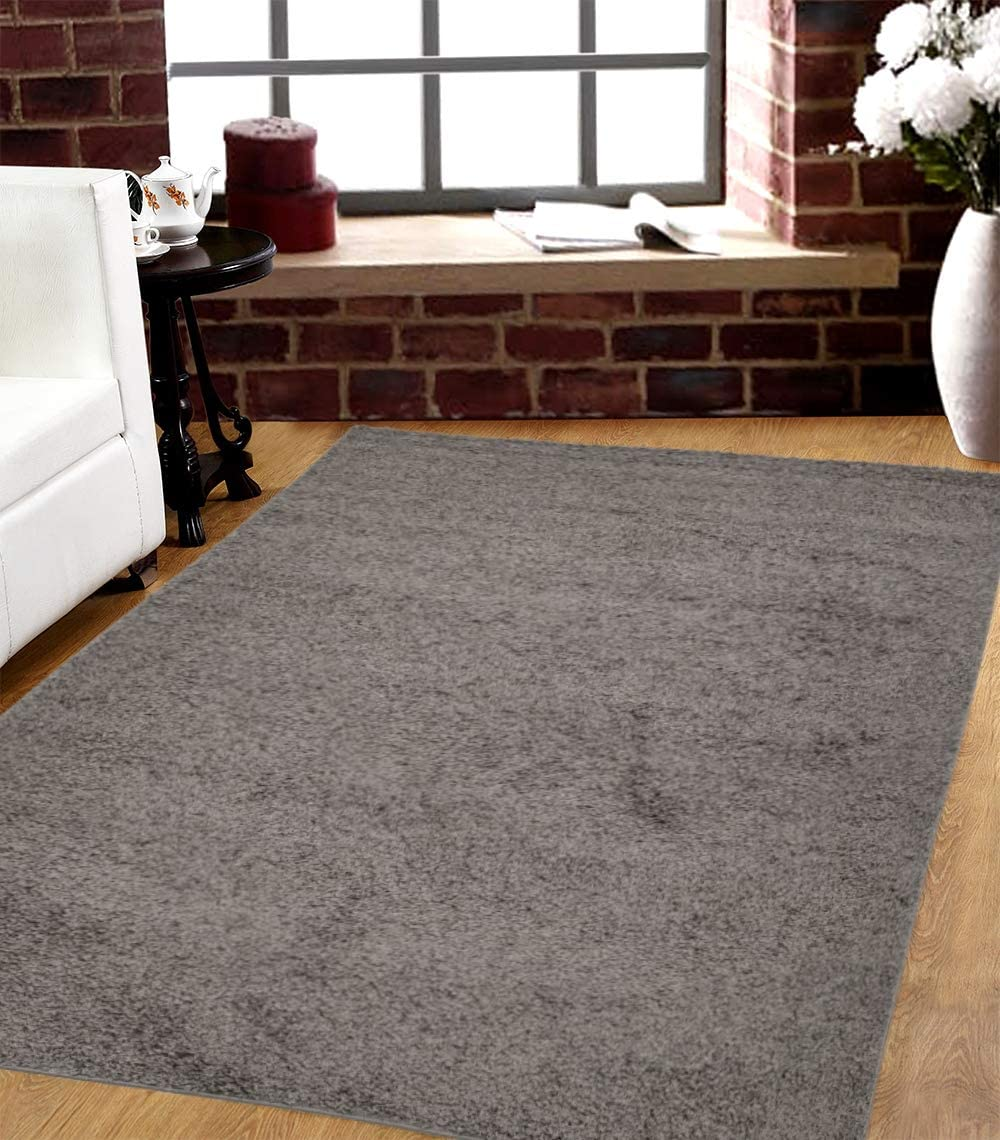 SavaHome 1063-GRAY Solid Modern Gray Shag Area Rug 5 x 7 Contemporary Livingroom and Bedroom Soft Shaggy Solid Color Area Rug