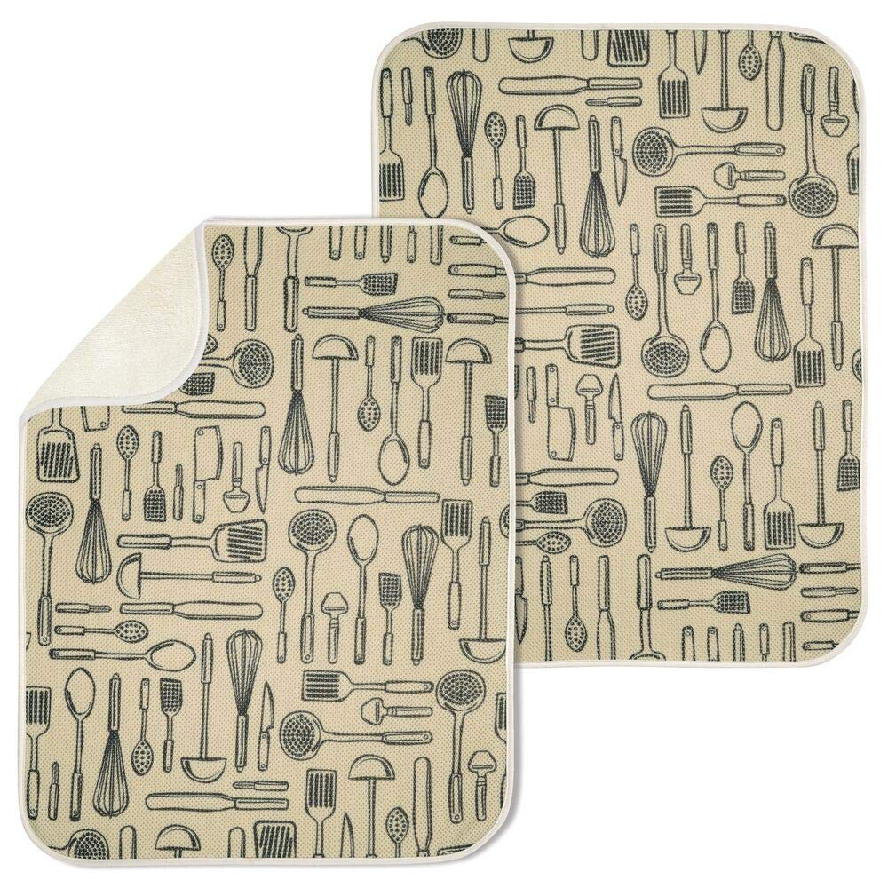 mDesign Ultra Absorbent Reversible Microfiber Dish Drying Mat and Protector for Kitchen Countertops, Sinks - Folds for Compact Storage, X-Large - Utensil Print - 2 Pack - Wheat/Ivory