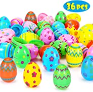 Sizonjoy 36 Pcs Plastic Easter Eggs-3'' Printed Bright Easter Eggs for Easter Hunt Party Favor,Basket Stuffers Fillers, Clas