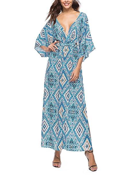 Vestido Mujer Largo Elegante Verano V Cuello Mangas 3/4 Espalda Abierta Hollow Con Abertura
