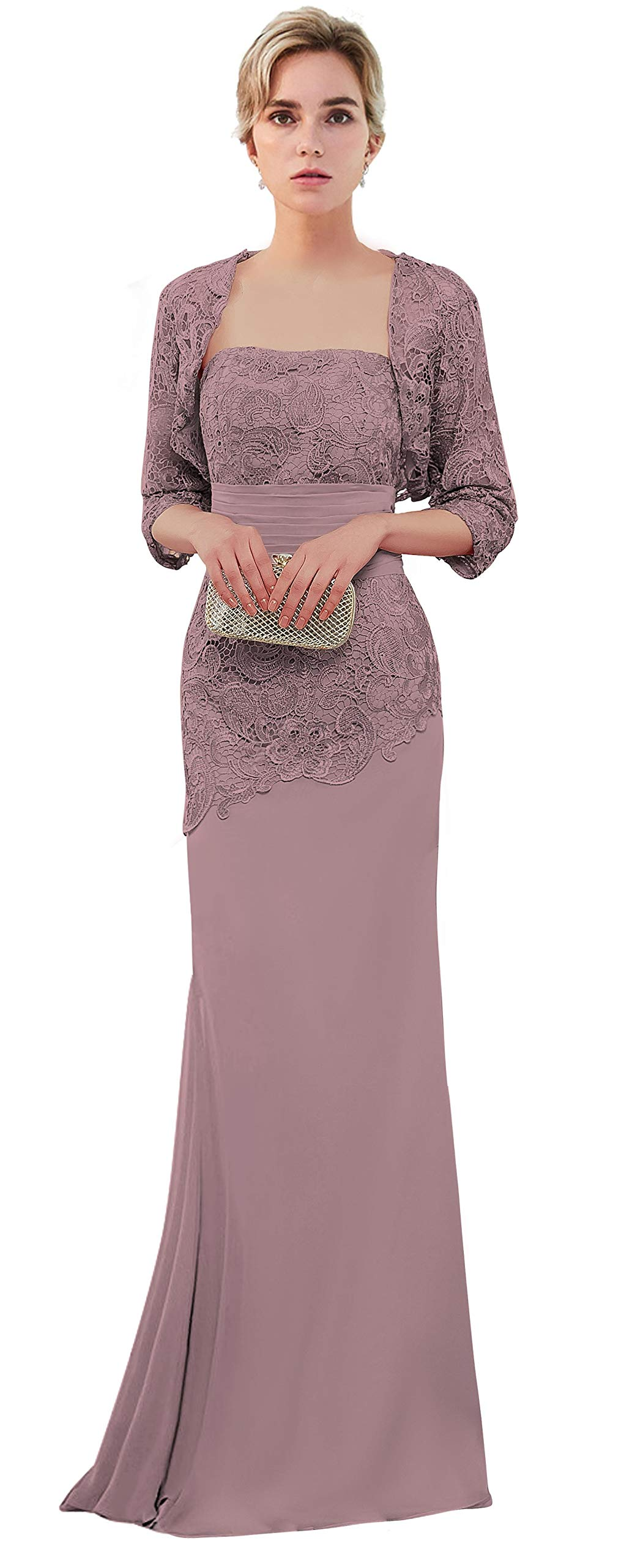 VaniaDress Women Long Mother of The Bride Dress with Jacket Formal Gowns  V263LF Vintage Mauve US20W