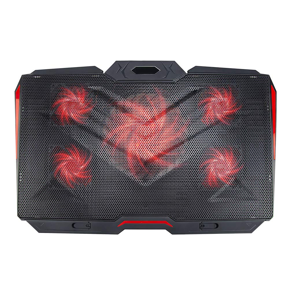 LINGSFIRE Laptop Cooling Pad 12-17inch Ultra Quiet Laptop Cooler Stand Notebook Cooling Fan Chill Mat for Gaming Laptop with 5 Fans, Red LED Lights, 2 USB Ports, 8 Adjustable Height (Black)
