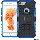 iPhone 7 Case ,Fetrim Rugged Dual Layer Shockproof TPU Case Protective Cover for Apple iPhone 7 / 8 with Built-in Kickstand (Blue)