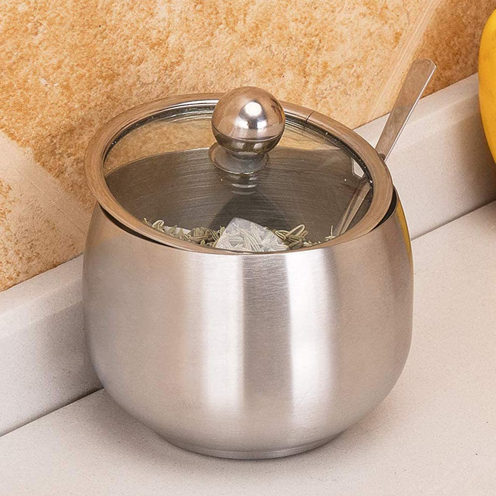 Stainless Steel Sugar Bowl Salt Pot with Clear Lid and Spoon Sugar Container Sugar Jar for Kitchen and Home 240 ML