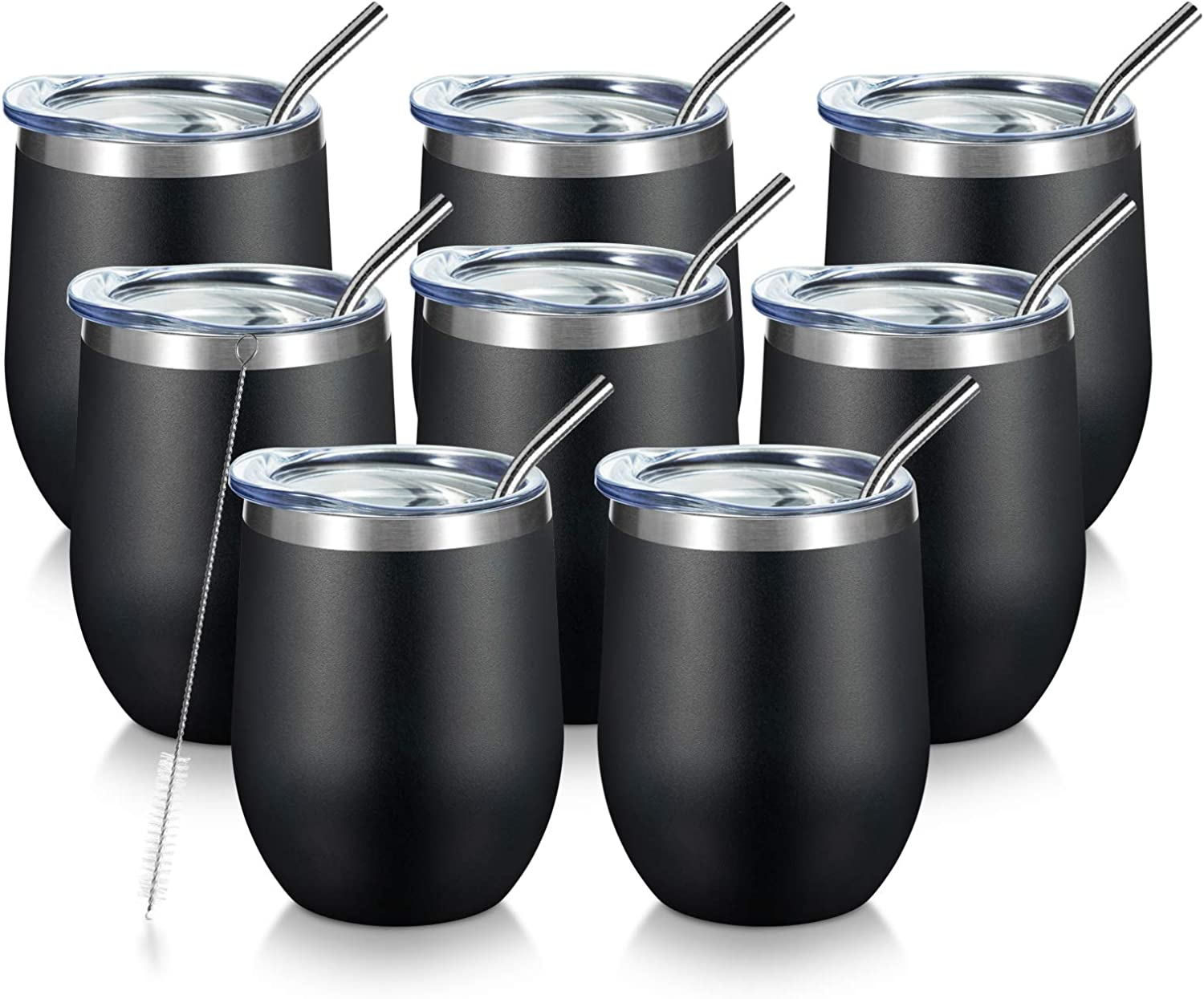 COMOOO 8 pack Stainless Steel Wine Tumbler with Lid and Straw 12OZ-Double Wall Vacuum Insulated Travel Tumbler Cup for Coffee Wine Cocktails Ice Cream Cup With Lid (Black, 8)