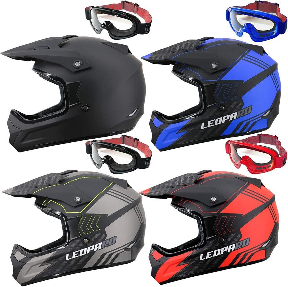 Leopard LEO-X307 Motorbike Motocross Helmet Gloves Goggles MX Quad ATV Sports Enduro Crash Helmet ECE 22.05 Certified