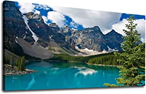 """Large Moraine Lake Canvas Wall Art Bedroom Wall Decor Mountain Picture Canvas Artwork Living Room Decoration Contemporary Nature Landscape Home Wall Decor 24"""" x 48"""" Framed Ready to Hang"""