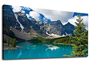 "Canvas Wall Art Mountain and Lake Nature Picture Scenery Prints Canvas Artwork Painting Contemporary Wall Art for Home Bedroom Living Room Decoration Kitchen Office Wall Decor Blue Theme 20"" x 40"""