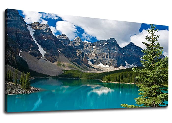"""Canvas Wall Art Mountain and Lake Nature Picture Scenery Prints Canvas Artwork Painting Contemporary Wall Art for Home Bedroom Living Room Decoration Kitchen Office Wall Decor Blue Theme 20"""" x 40"""""""
