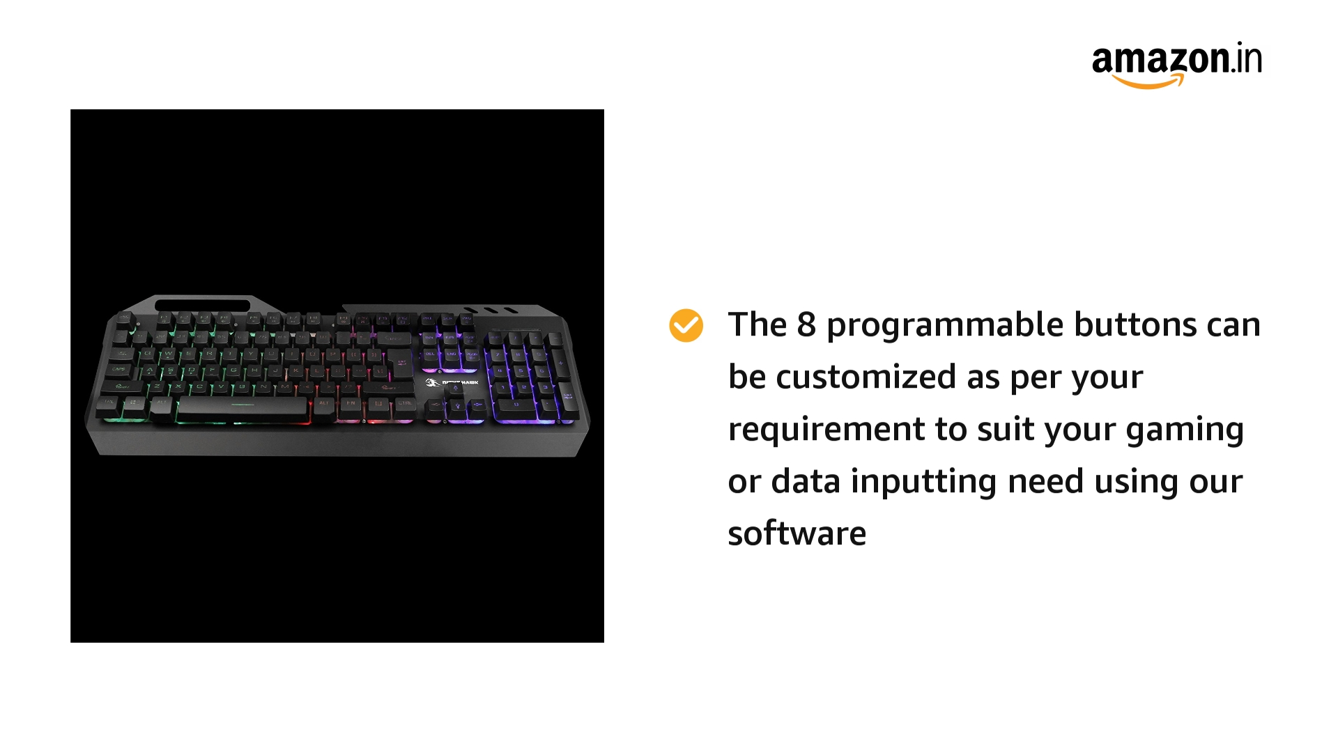 Night Hawk NK102 FPS Gaming Keyboard (Metallic Series) with 3 Color Changeable LED & 19 Anti-Ghosting Keys, Black