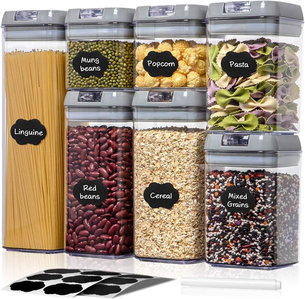 Airtight Food Storage Containers with Lids - 7 PCS BPA Free Plastic Cereal Containers - Easy Lock for Flour Pasta Spaghetti Kitchen Pantry Organization Container - Include Labels & Marker (Grey)