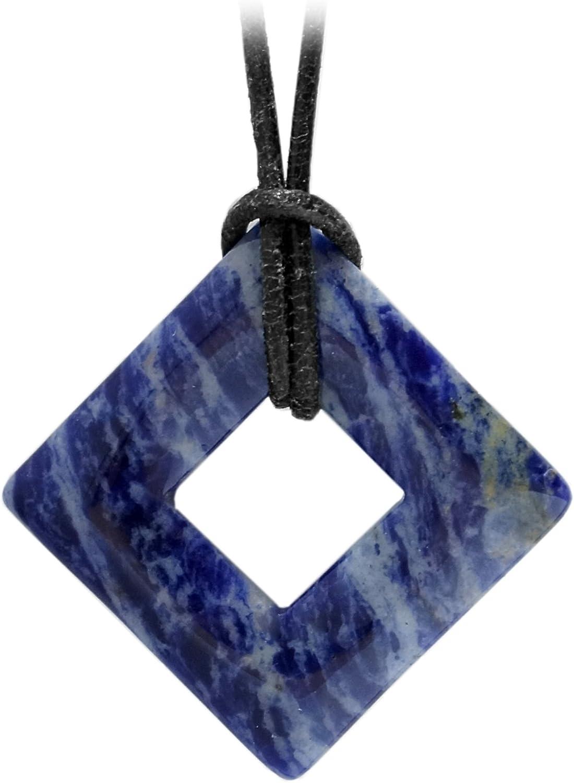 Kaltner Pr/äsente Id/ée Cadeau Collier en Cuir pour Hommes et Femmes avec Pendentif en pierres pr/écieuses sodalite