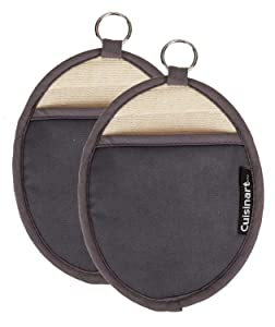 Cuisinart Silicone Oval Pot Holders and Oven Mitts - Heat Resistant, Handle Hot Oven / Cooking Items Safely - Soft Insulated Pockets, Non-Slip Grip and Convenient Hanging Loop- Grey, Pack of 2 Mitts