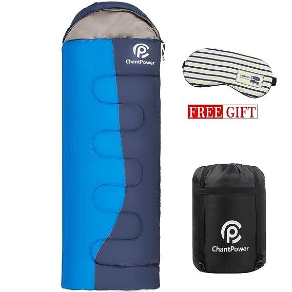 ChantPower Saco de Dormir Impermeable, de 10-22ºC, 210T, Encapuchado para Adultos, con Bolsa de compresión (A la Derecha): Amazon.es: Deportes y aire libre
