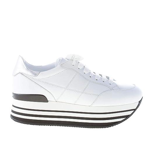 Hogan Donna Maxi H222 Sneaker in Pelle Bianco con H impunturata Color  Bianco Size 38.5  Amazon.it  Scarpe e borse 076ba51427c