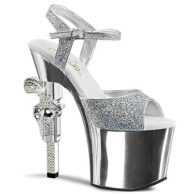 9f663968b508 Pleaser Women's Revolver-709G Platform Sandal,Silver Multi Glitter/Silver  Chrome,5