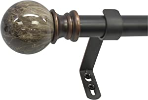 "Beme International 1"" Decopolitan Core Marble Ball Telescoping Drapery Rod Set, 18-36"", Brown"