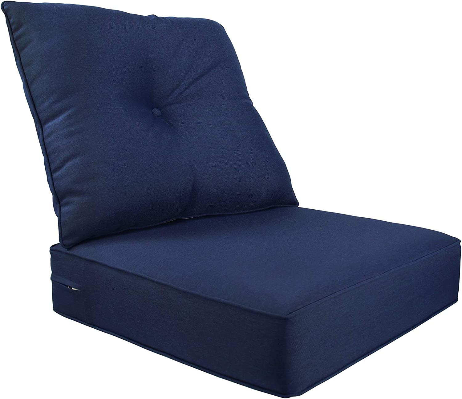 Bossima Indoor/Outdoor Deep Seat Chair Cushion Set,Spring/Summer Seasonal Replacement Cushions (Olefin Navy Blue)