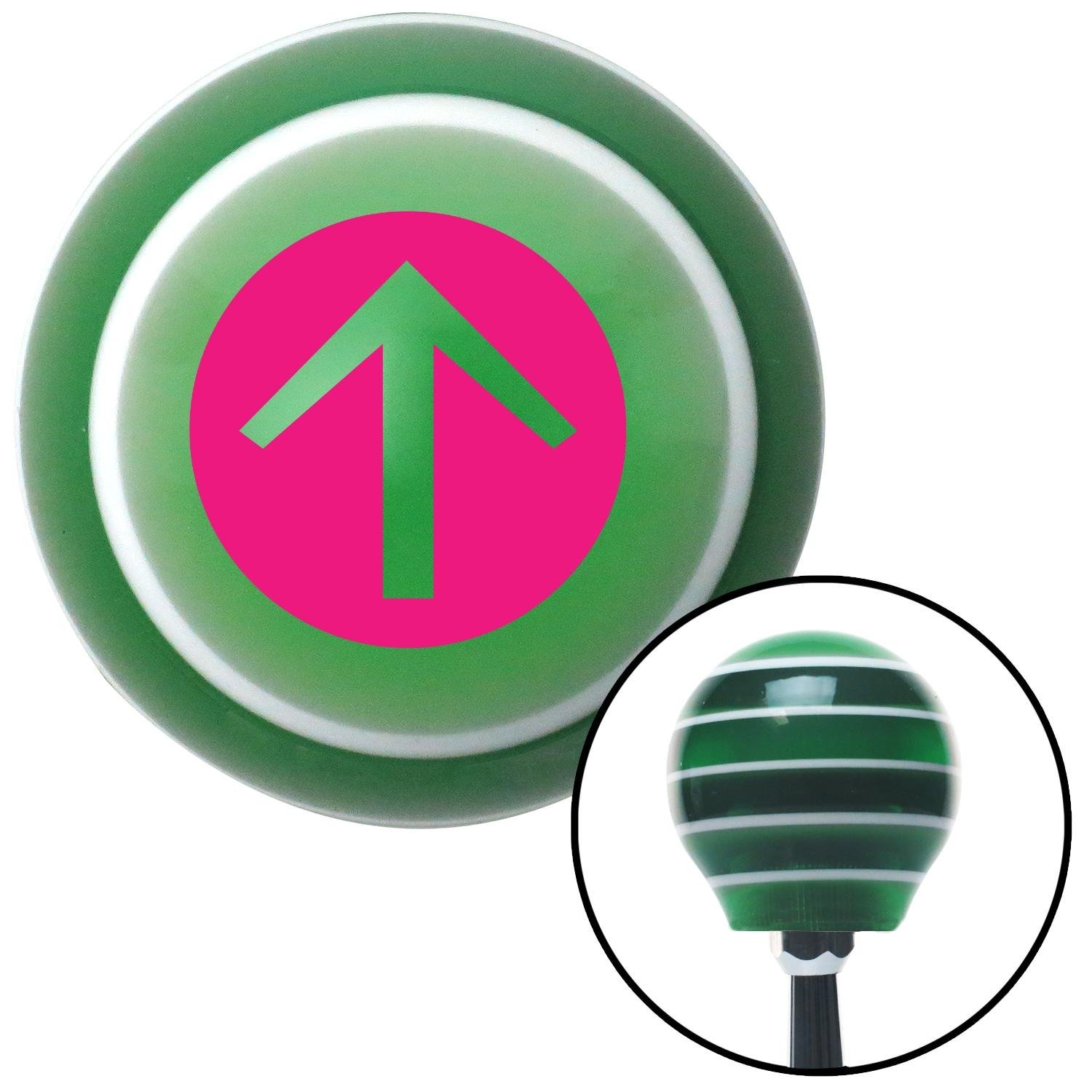Pink Circle Directional Arrow Up American Shifter 121269 Green Stripe Shift Knob with M16 x 1.5 Insert