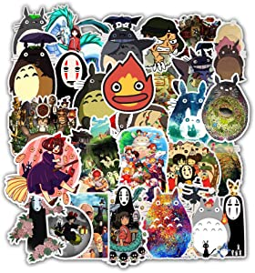 50 pcs Hayao Miyazaki Vinyl Waterproof Stickers, for Laptop, Luggage, Car, Skateboard, Motorcycle, Bicycle Decal Graffiti Patches