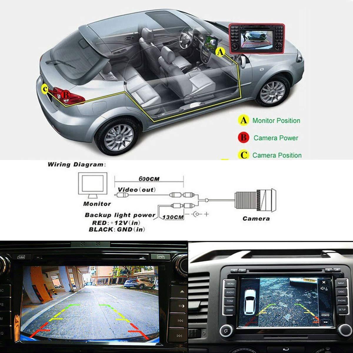 HD CCD 20mm Couleur Cam/éra avec Vision Nocturne et syst/ème de recul /étanche /& Antichoc IP68 pour Nissan Sunny Pathfinder//Armada//Citroen//Jumpy//C-Quatre//Peugeot//Fiat