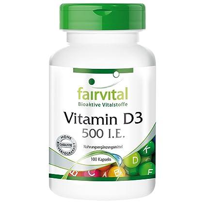 fairvital - 100 cápsulas de vitamina D3 (12,5 mcg) - Colecalciferol -