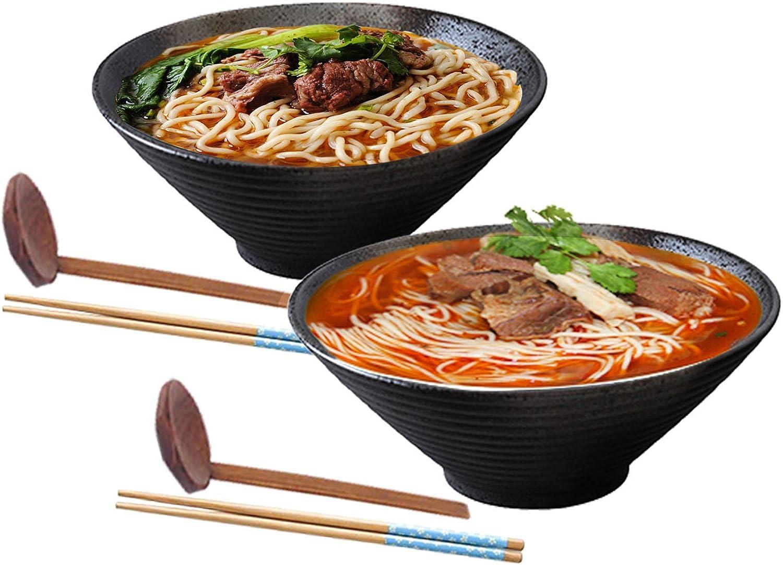 Insalatiere Per Cucina Domestica Soba Con Bacchette E Un Cucchiaio Di Grandi Ciotole Per Noodle Ciotole in Porcellana Pasta Per Udon 6 Pezzi 2 Set Set Di Ciotole Per Zuppa Di Ramen Giapponese