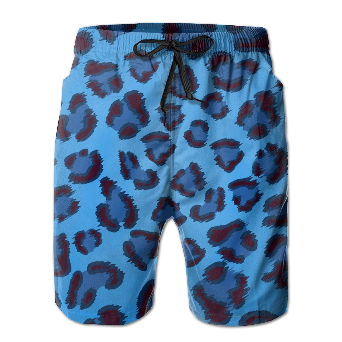 TR2YU7YT Blue Leopard Casual Mens Swim Trunks Quick Dry Printed Beach Shorts Summer Boardshorts Bathing Suits with Mesh Lining