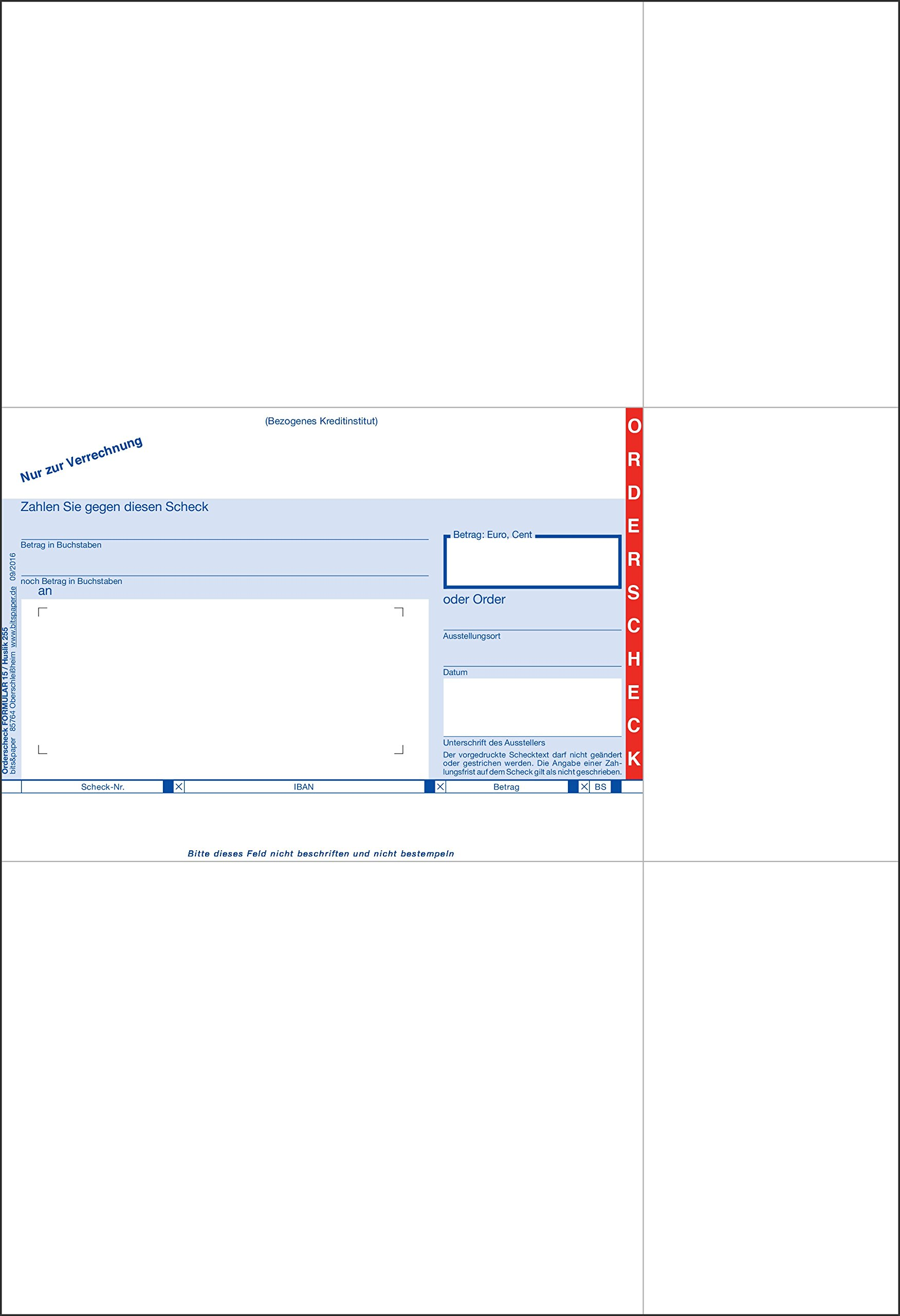 Bits and Paper HU255-Sepa Orderscheck, Bank with IBAN, 500Sheets, A4, Bankneutral by Bits&Paper