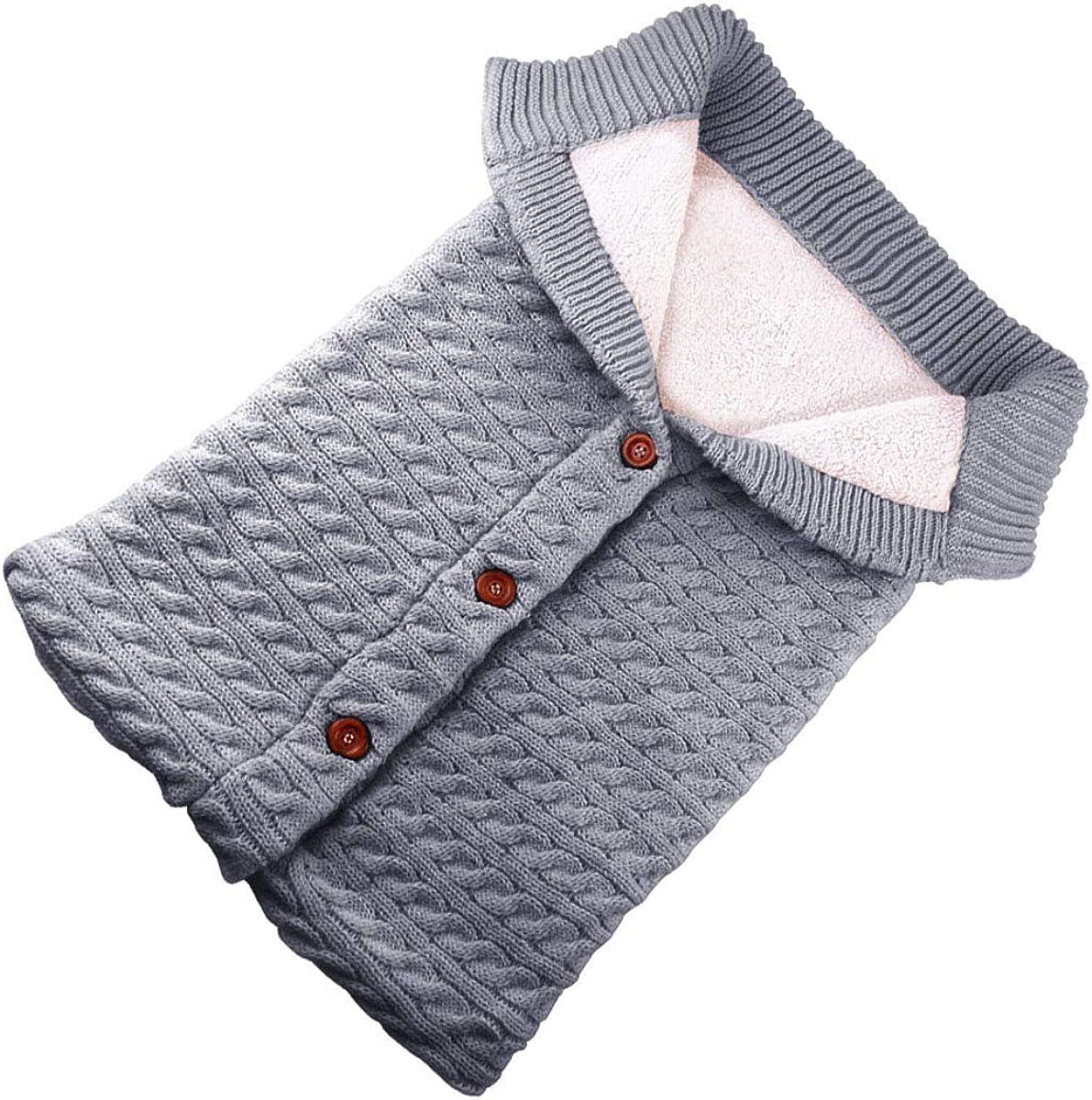 SOONHUA Bebé Recién Nacido Niñas Niños Envolver Manta Saco de Dormir Manta de Invierno Crochet de Punto Abrigo Cálido Que Recibe Mantas de Cochecito para 0-18 Meses Bebé Niño
