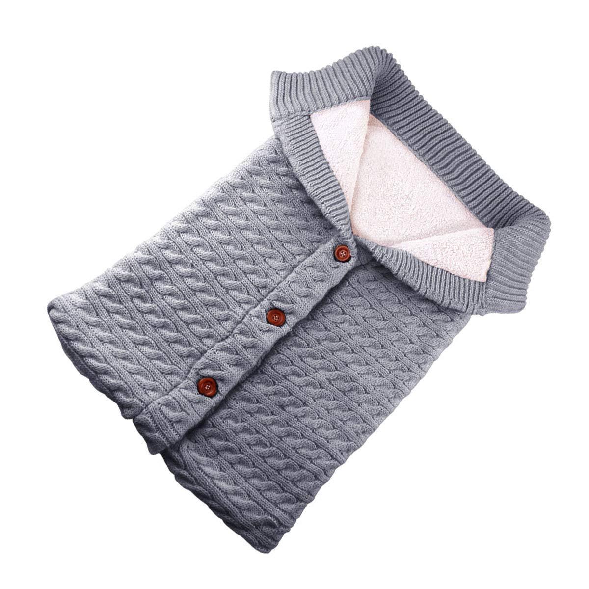 Newborn Baby Swaddle Blanket Stroller Wrap Plus Velvet Baby Kids Toddler Thick Knit Soft Warm Fleece Blanket Swaddle Sleeping Bag Sleep Sack Stroller for Boys and Girls Grey